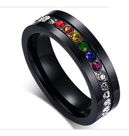 RAINBOW RING-BLACK STAINLESS STEEL RAINBOW STONES BAND, SIZE 07