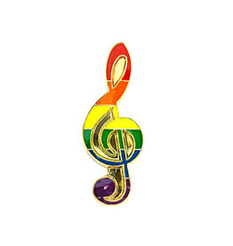 RAINBOW RAINBOW MUSICAL NOTE LAPEL PIN
