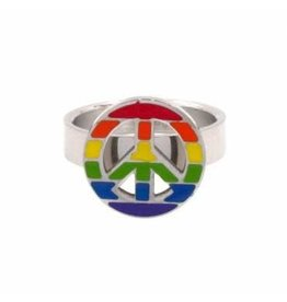 STAINLESS STEEL RAINBOW PEACE SIGN RING