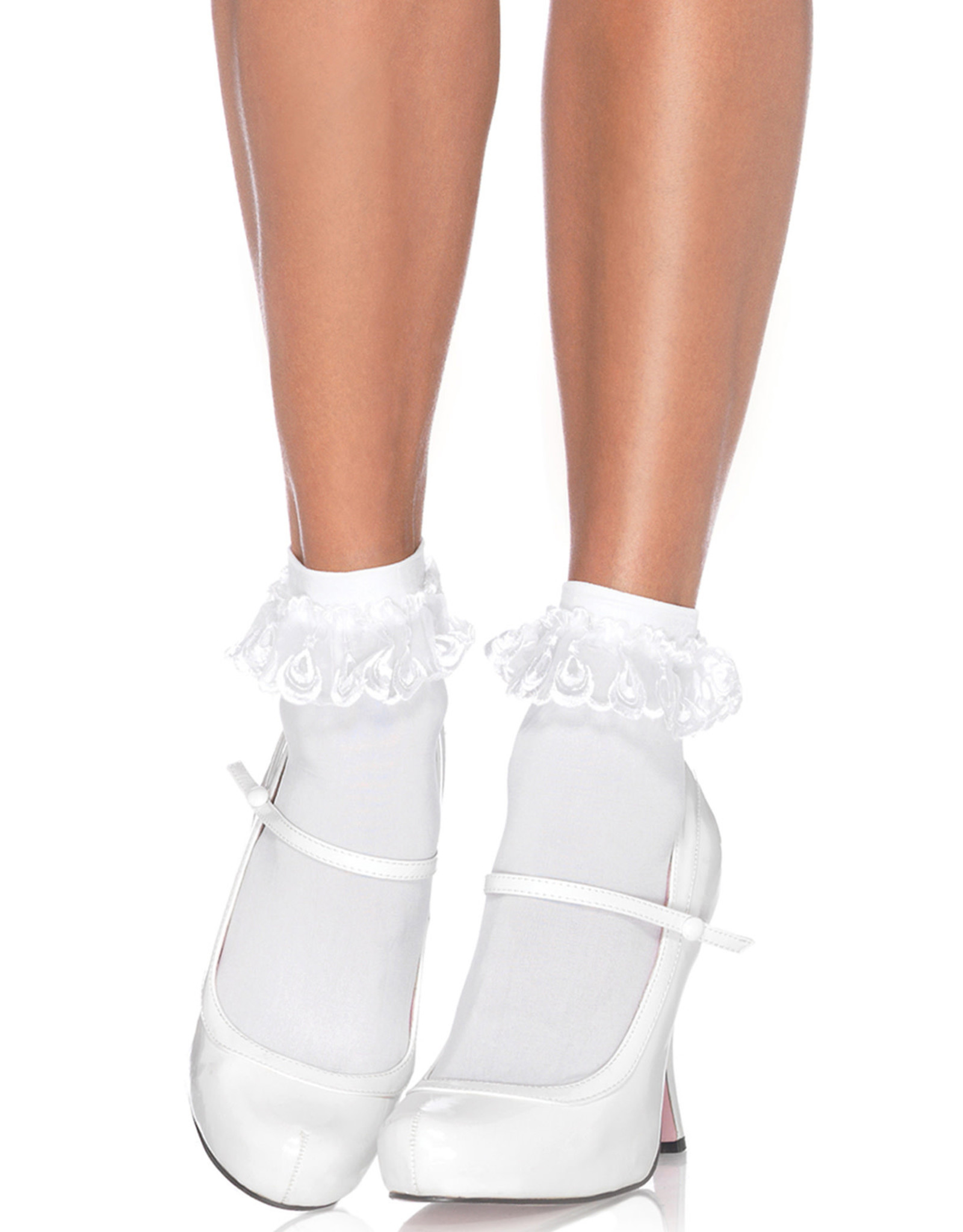 LEG AVENUE ANKLET W/ LACE RUFFLE WHITE