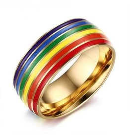 RAINBOW STAINLESS GOLD RING W/ RAINBOW ENAMEL LINES