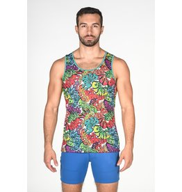 ST33LE ST33LE RAINBOW GRAFFITI STRETCH MESH TANK