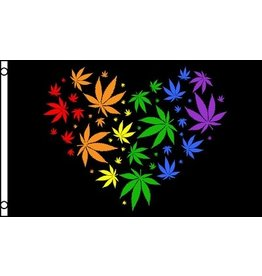 RAINBOW RAINBOW MARIJUANA HEART FLAG
