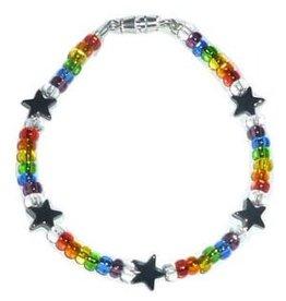 """RAINBOW GLASS STAR RAINBOW BEAD 7"""" BRACELET"""