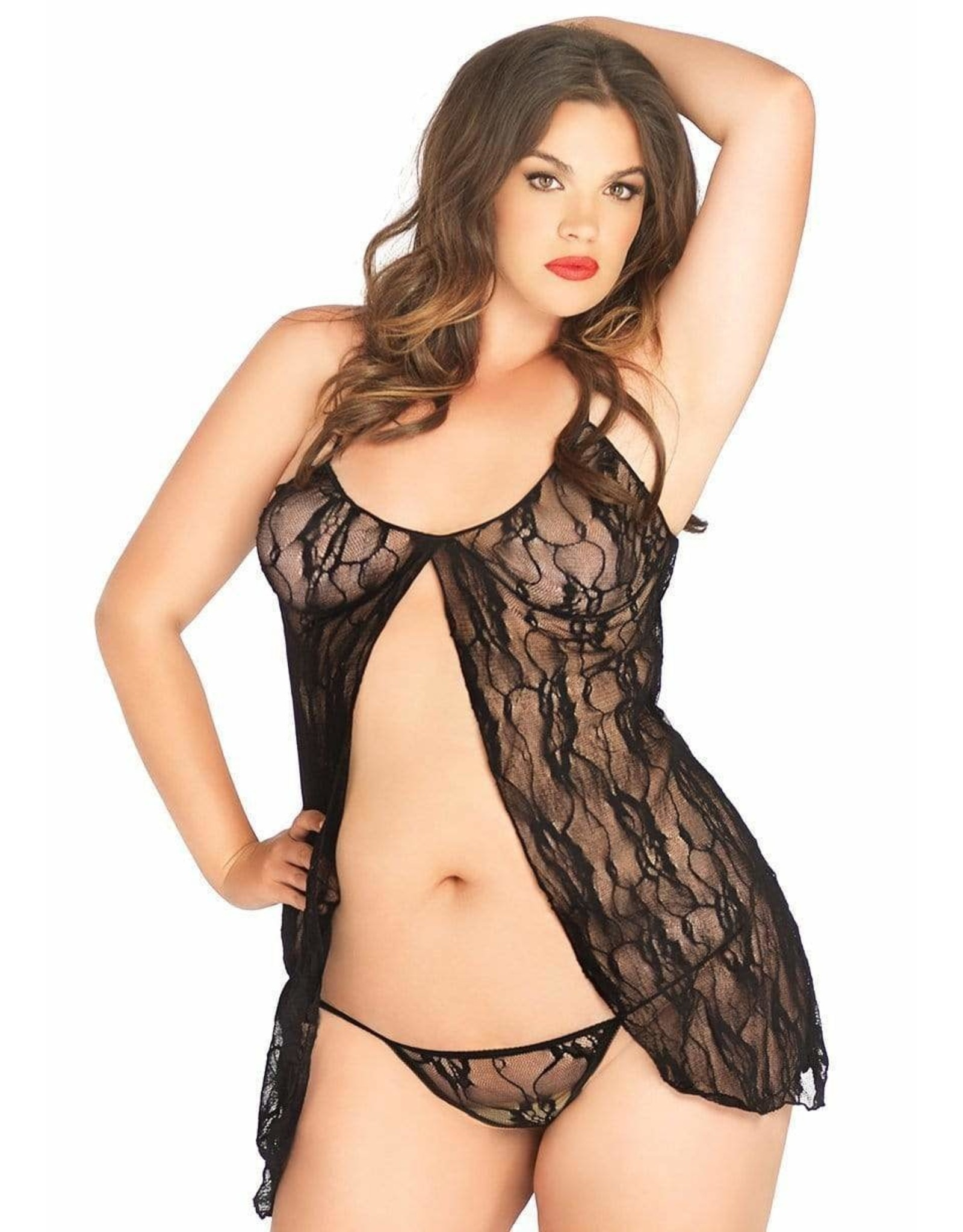 LEG AVENUE BABYDOLL WITH G-STRING AND LACE 2PC QUEEN SIZE