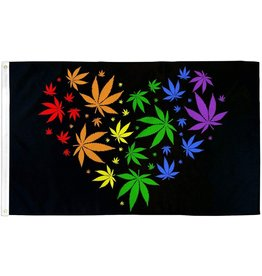 RAINBOW RAINBOW MARIJUANA HEART FLAG  3' X 5' POLYESTER