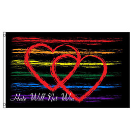 RAINBOW HATE WILL NOT WIN FLAG  3' X 5' POLYESTER
