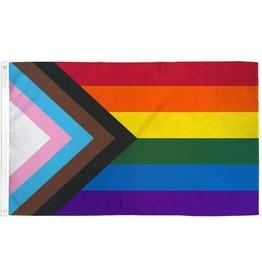 RAINBOW PROGRESS PRIDE FLAG POLYESTER