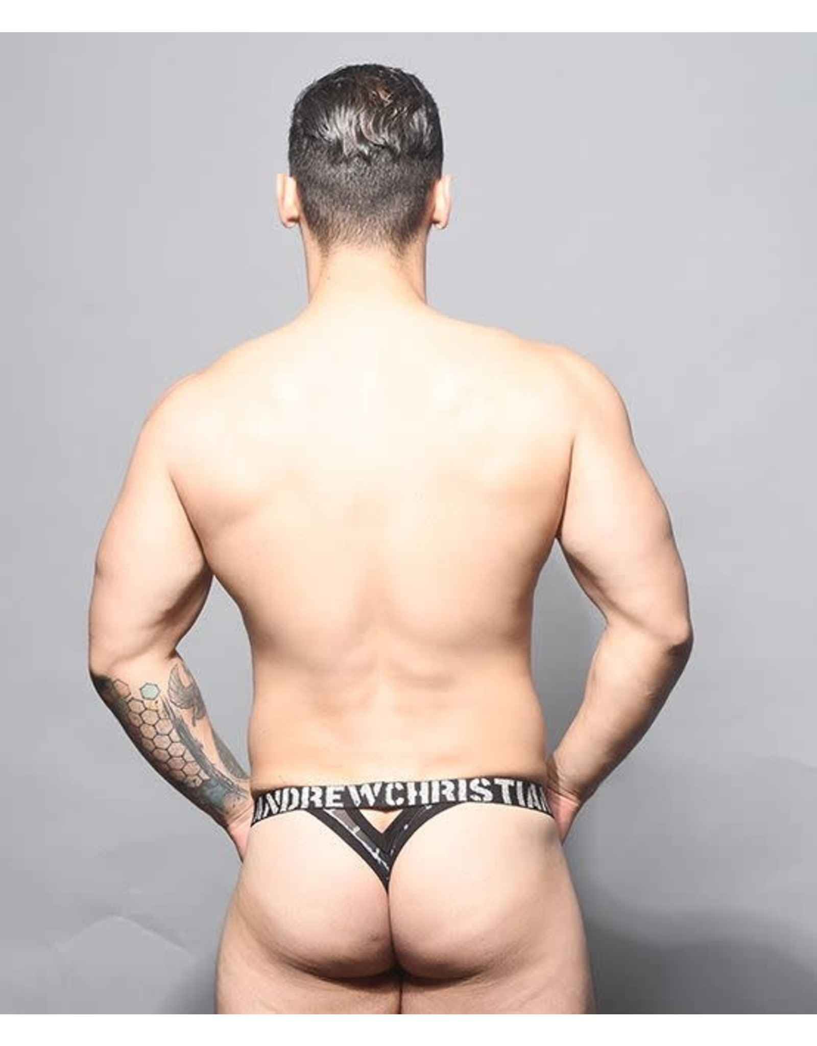 ANDREW CHRISTIAN ANDREW CHRISTIAN BARBED WIRE SHEER Y BACK THONG W/ ALMOST NAKED