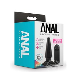 BLUSH NOVELTIES Anal Adventures Basic Vibrating Anal Pleaser With Remote Control - Black