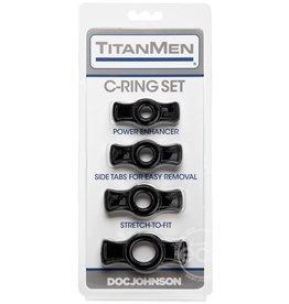 Titanmen TITANMEN COCK RING SET BLACK