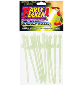 Hott Products PARTY PECKER SIPPING STRAWS GLOW IN THE DARK 10pk