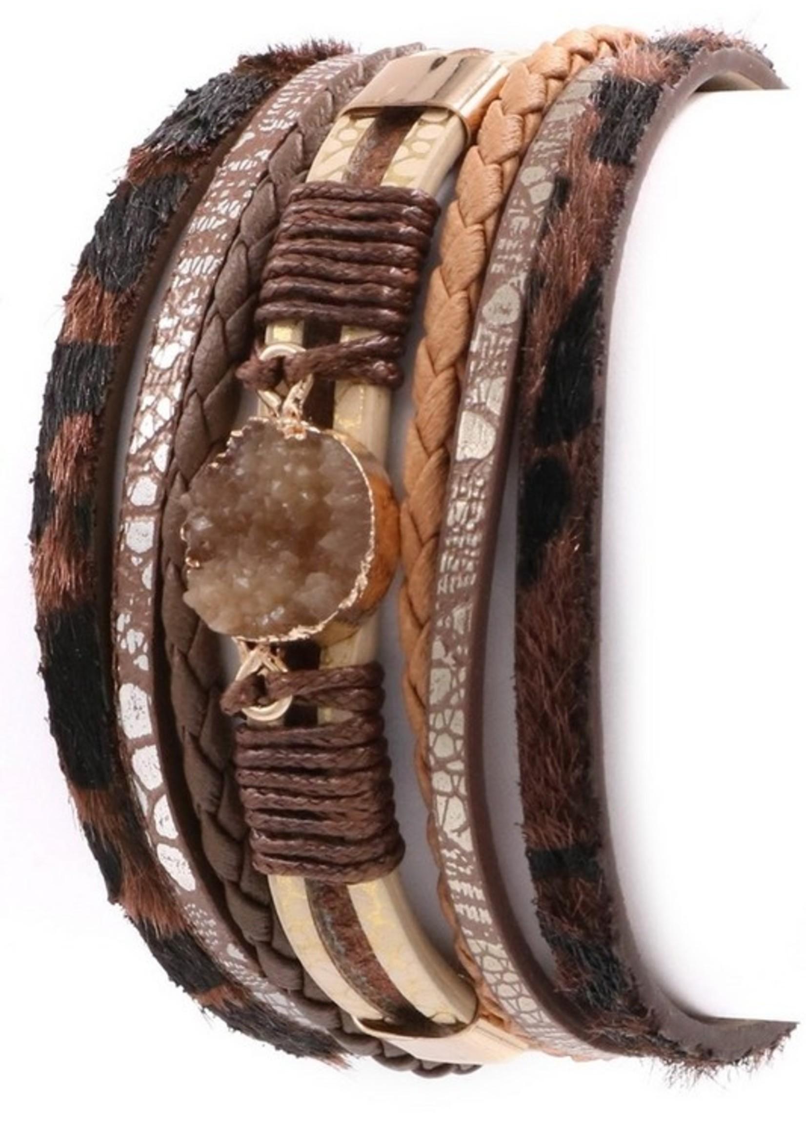 Layered Fur Leather Druzy Stone Bracelet