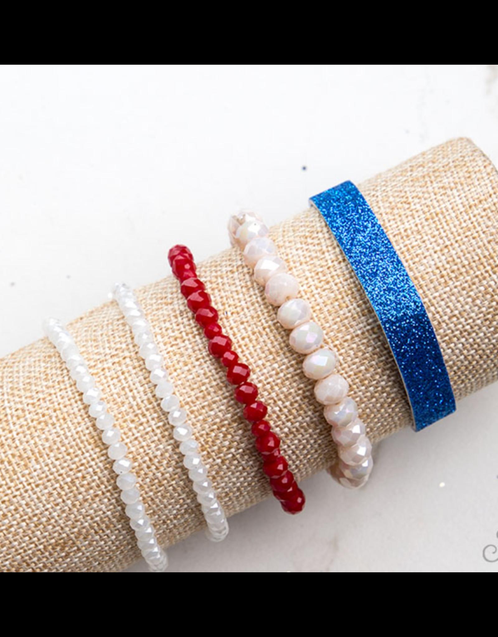 5 Strand Stackable Bracelet Set, Red White & Blue