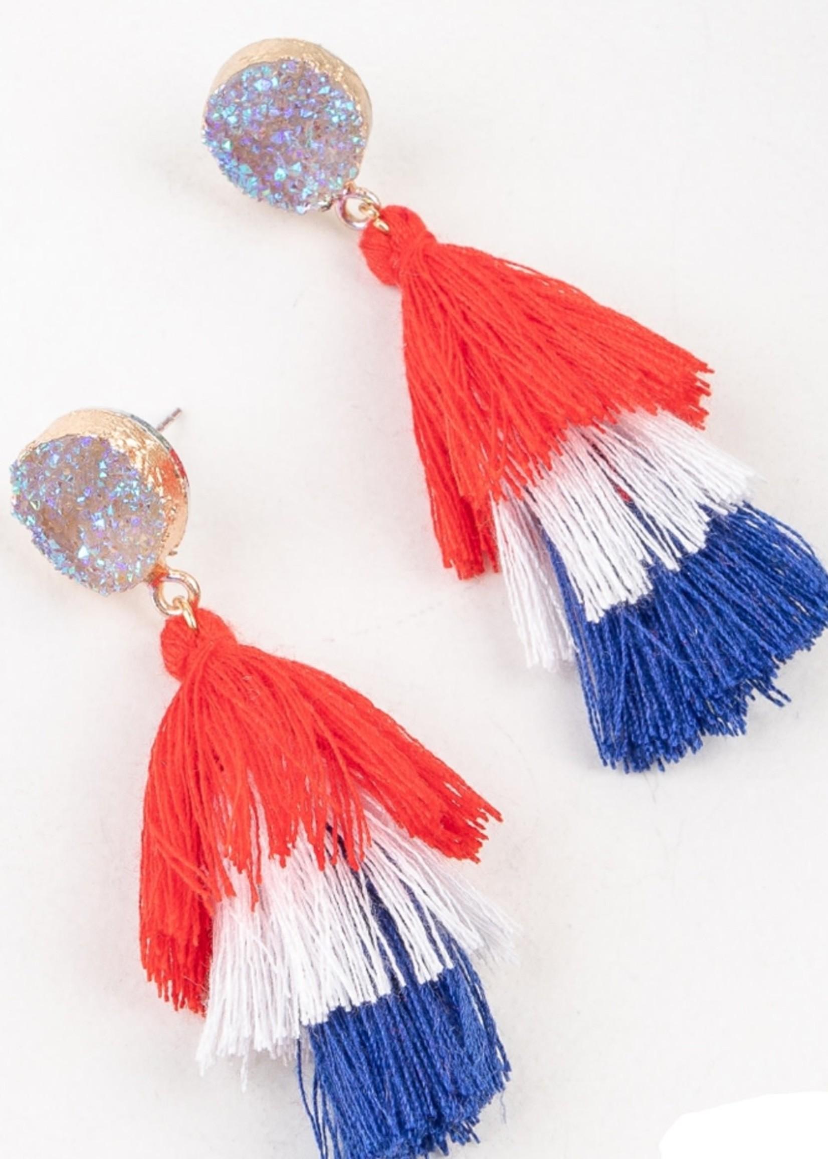 America The Beautiful Tassel Earrings