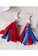 True Patriot Single Bead Tassel Earrings