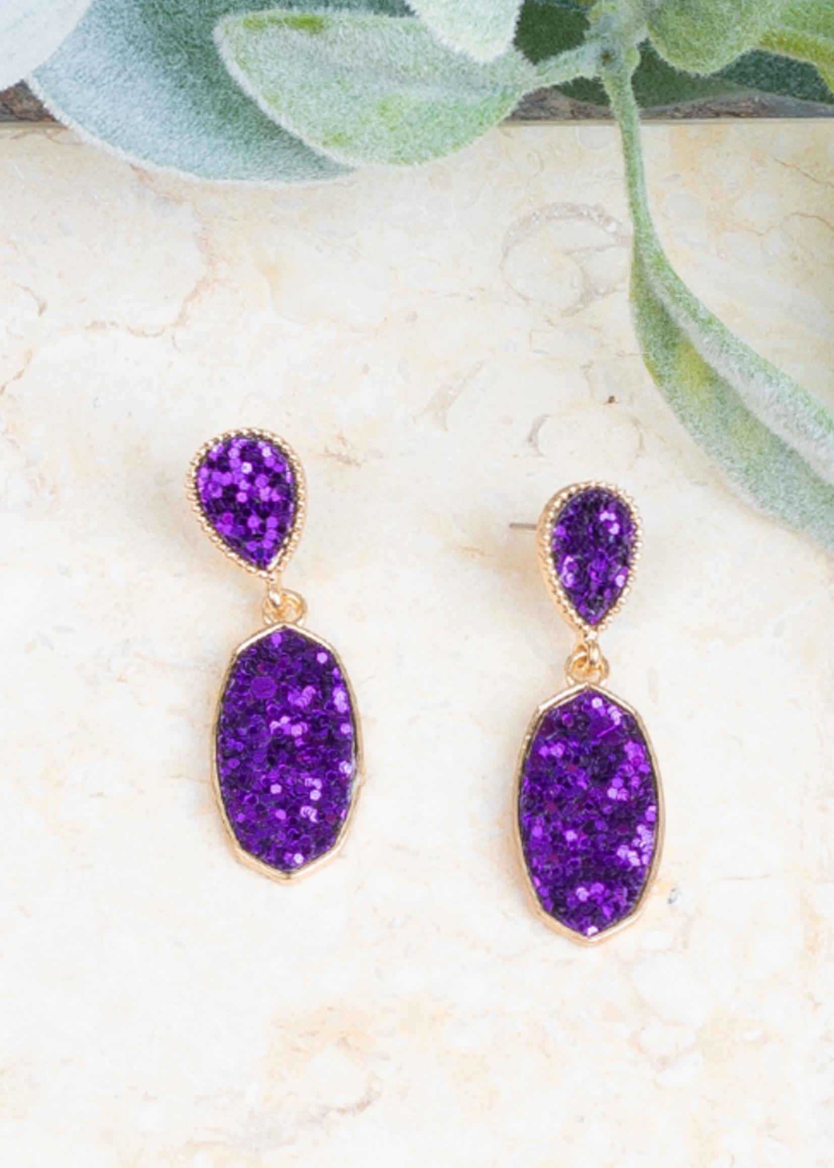 Purple Glitter Sparkling & Sweet Earrings