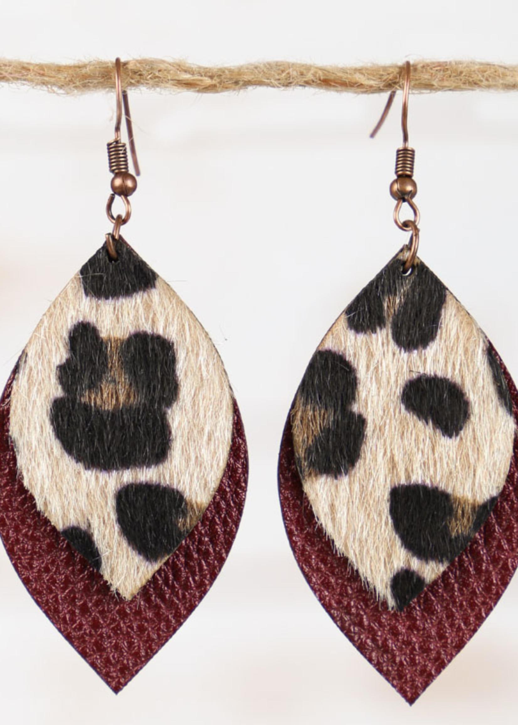 Merlot Leather Leopard Earrings