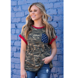God Bless the USA Camo Top w Star Pocket Red Ringer
