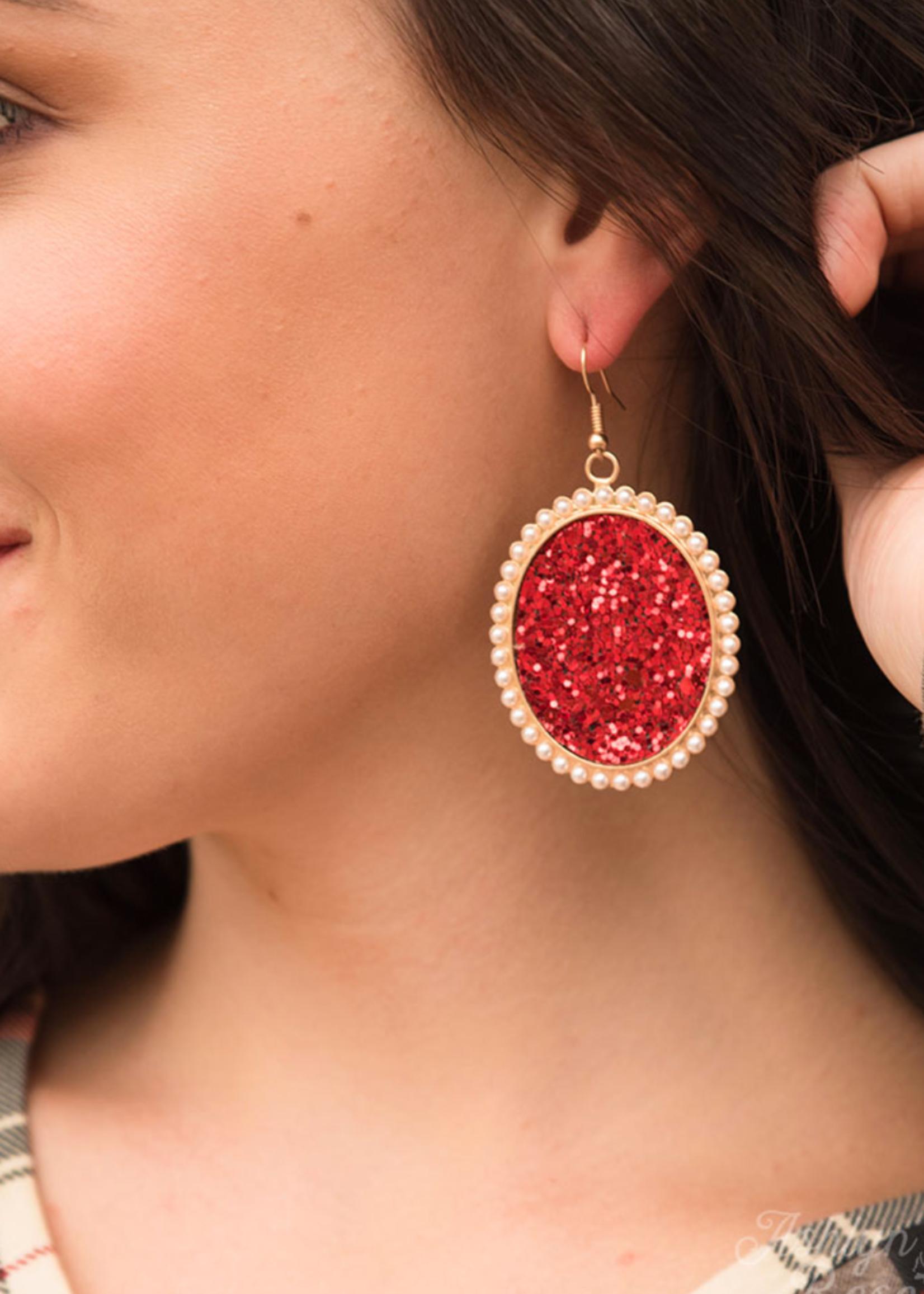 Glitter & Glam Oval Earrings