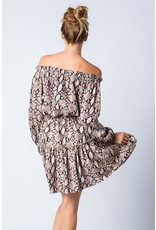 Off Shoulder Snake Print Dress