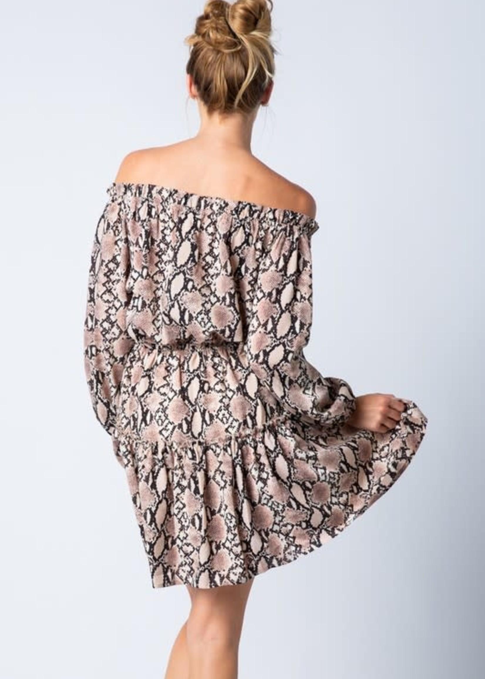 Off Shoulder Snake Print Dress