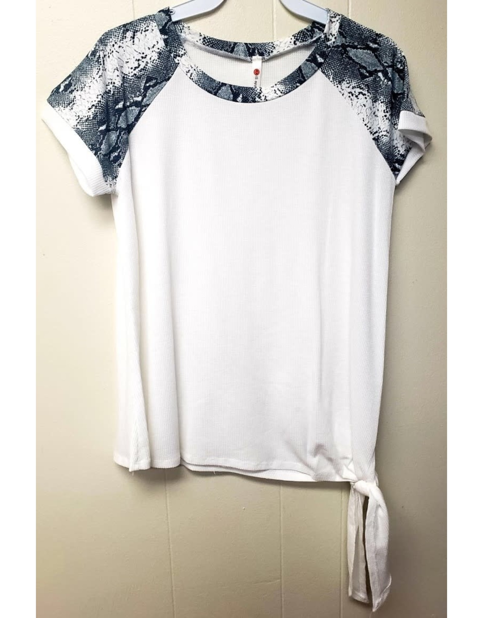 Raglan Sleeve Top Snake Print York, Tie Bottom
