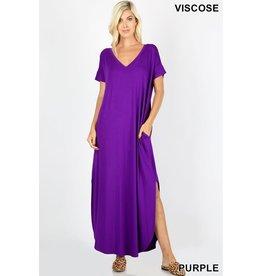Zenana Viscose V-Neck Maxi