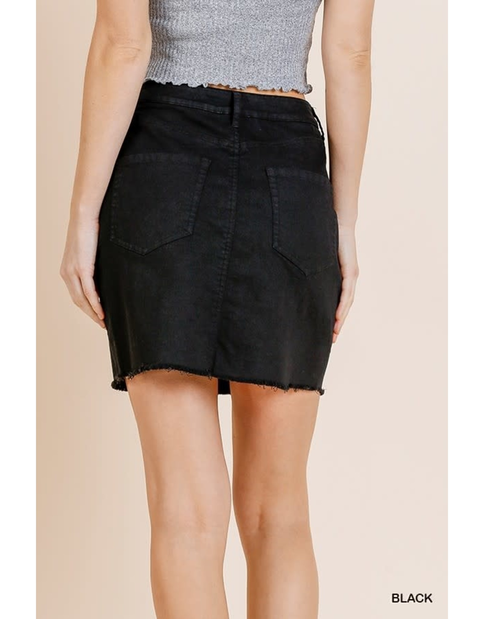 High Waist Denim Stretch Mini Skirt