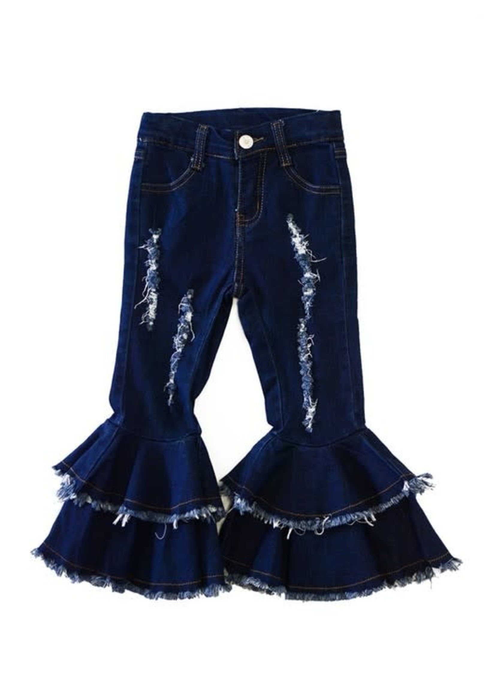 Double Layer Distressed Bell Bottoms