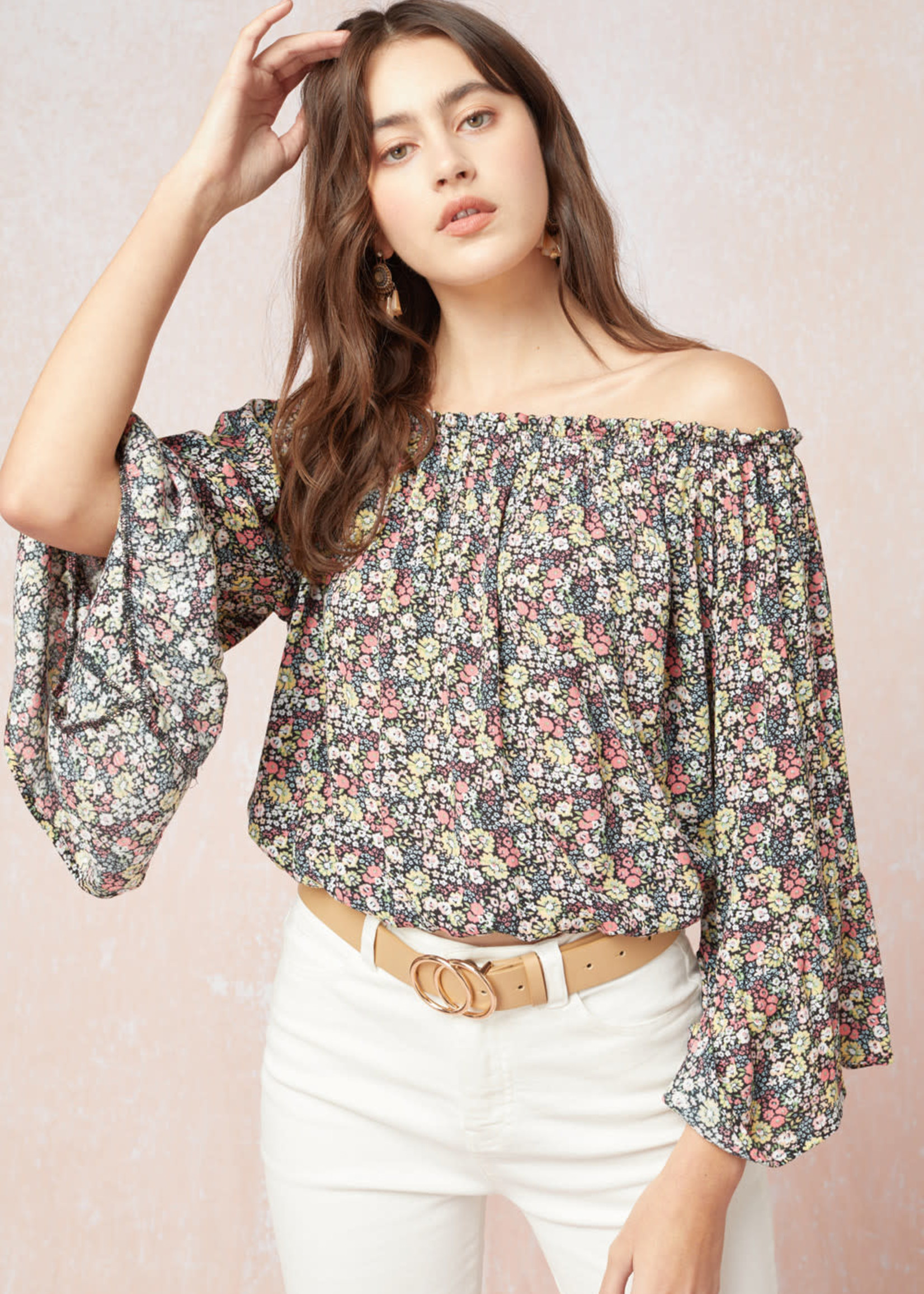 Floral Print Off Shoulder Top