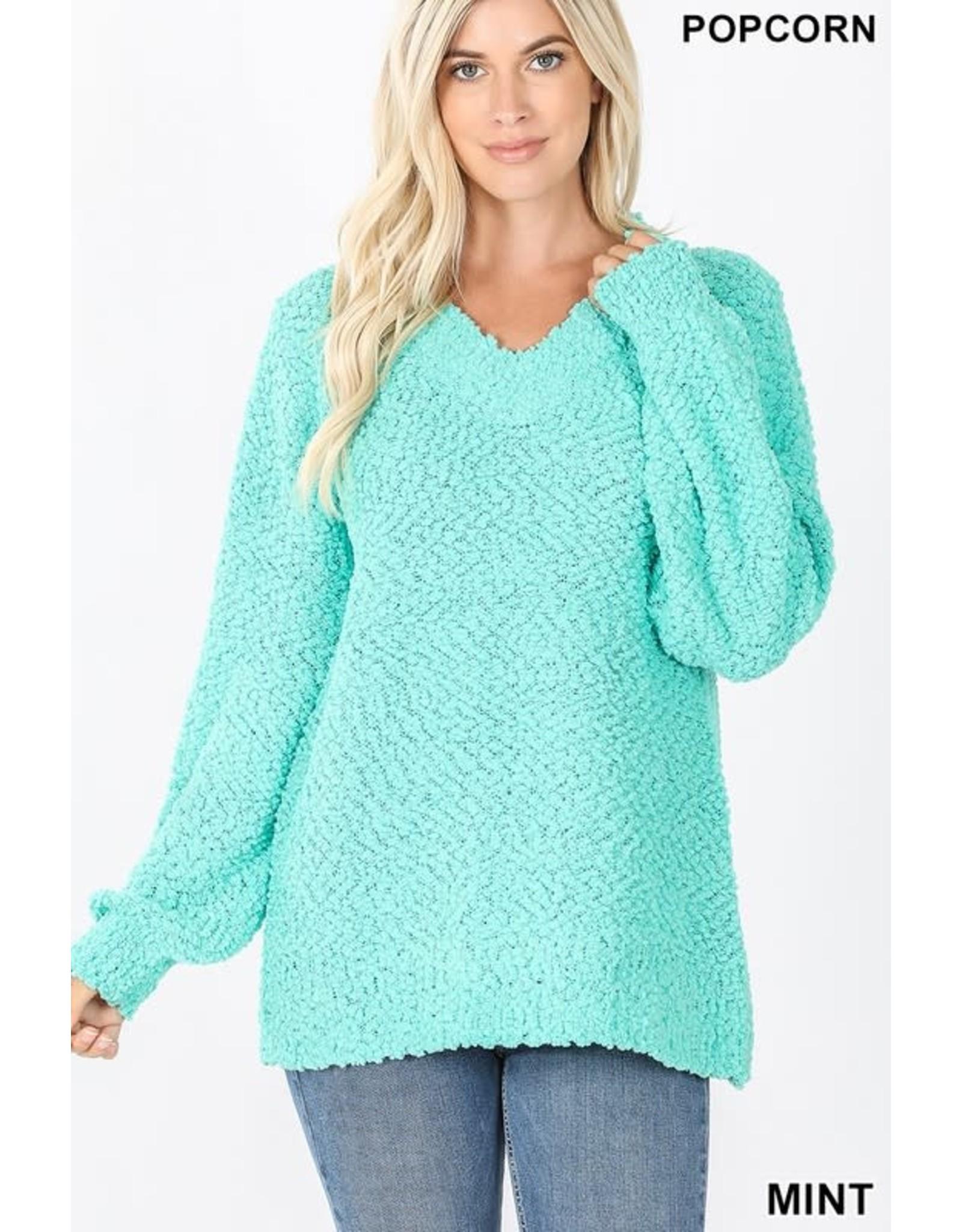 Popcorn Balloon Sleeve V-Neck Sweater