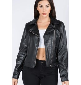 Alligator Croc Vegan Leather Biker Jacket