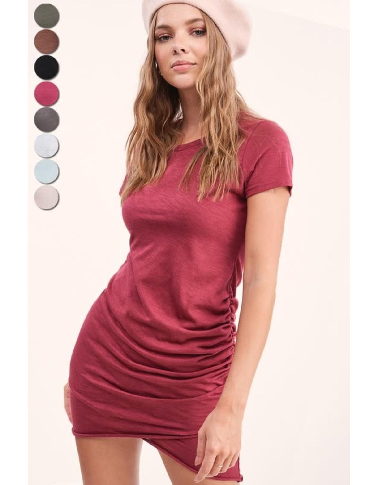 La Miel Berry Ruched Mini Dress