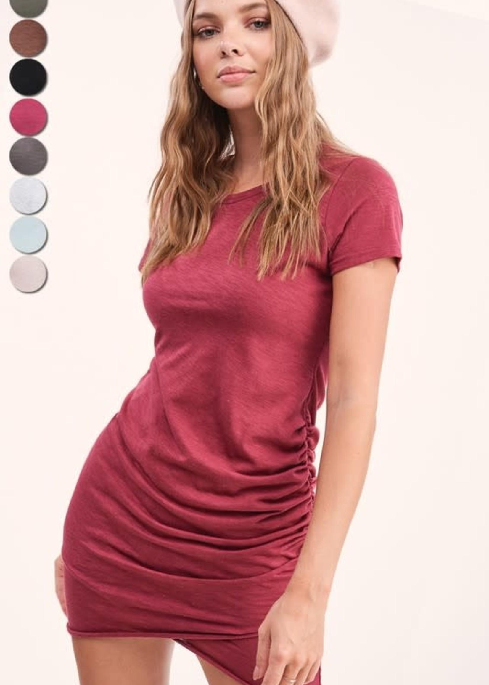 Berry Ruched Mini Dress