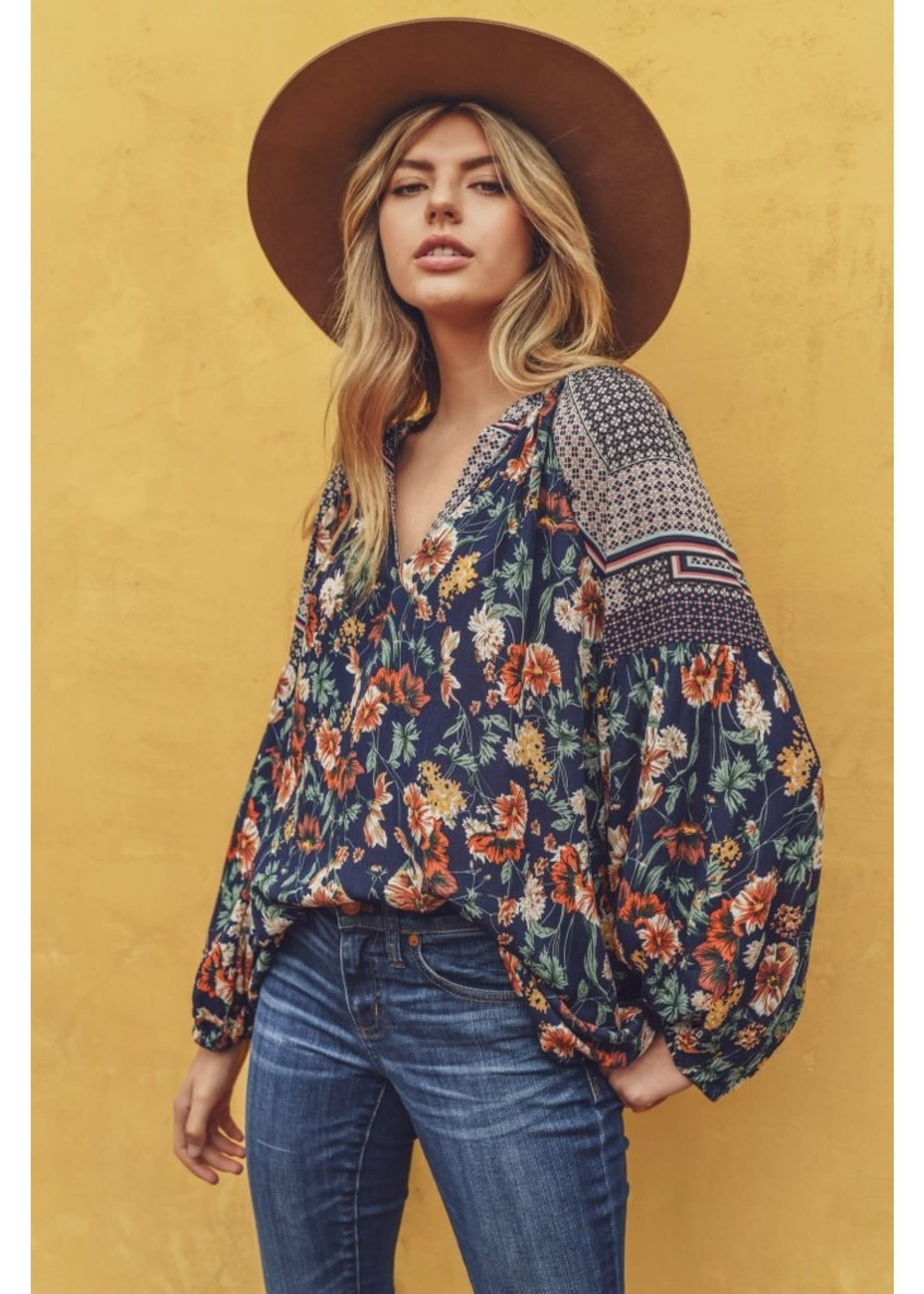 Jodi FL Bubble Sleeve Floral Boho Top