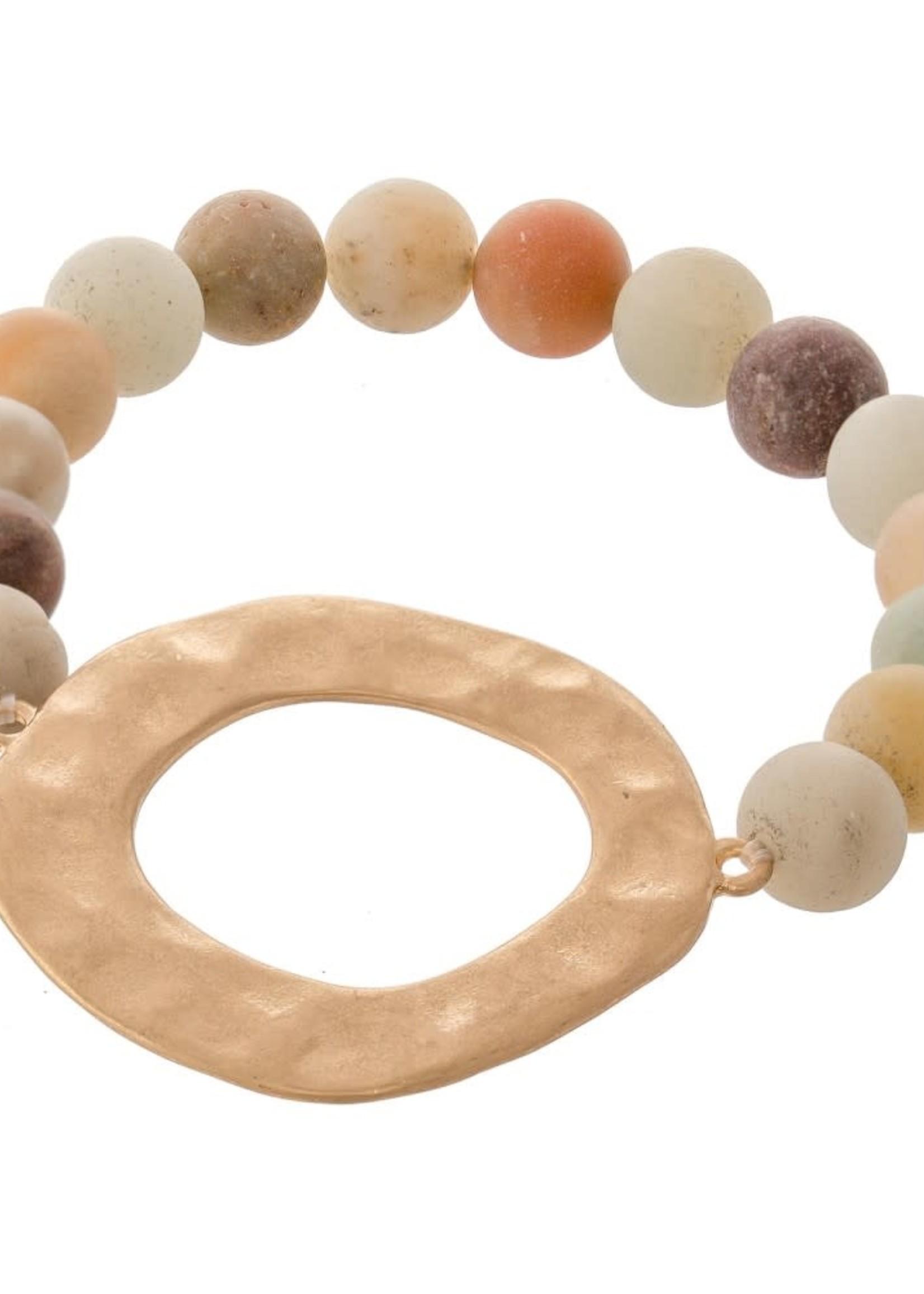 Semi Precious Natural Stone Beaded Stretch Bracelet