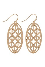 Judson Metal Filigree Oval Drop Earrings
