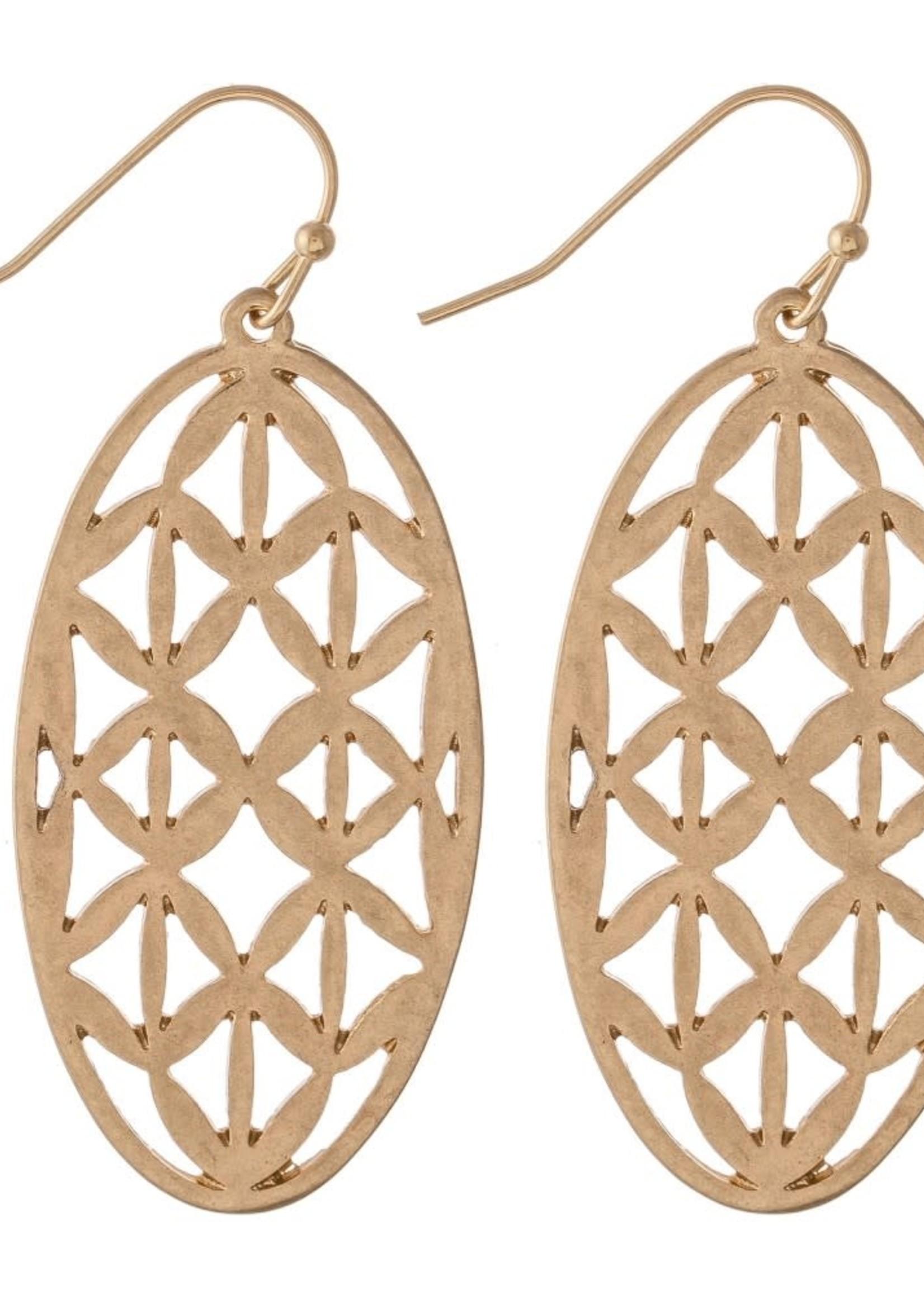 Metal Filigree Oval Drop Earrings