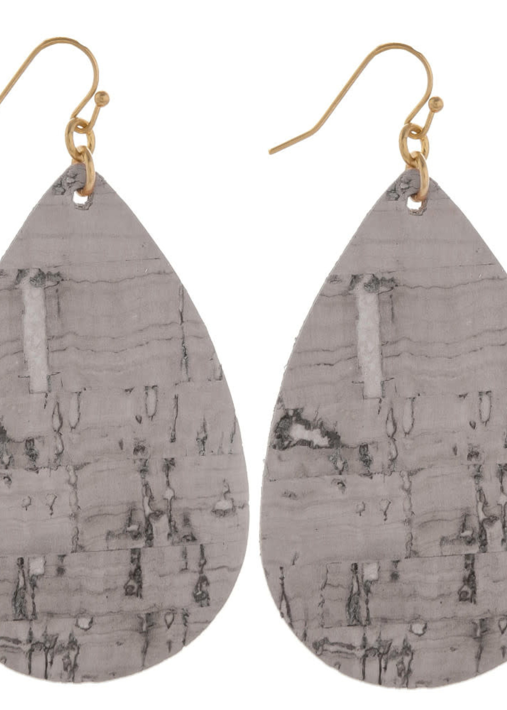 Cork Inspired Teardrop Earrings - Gray