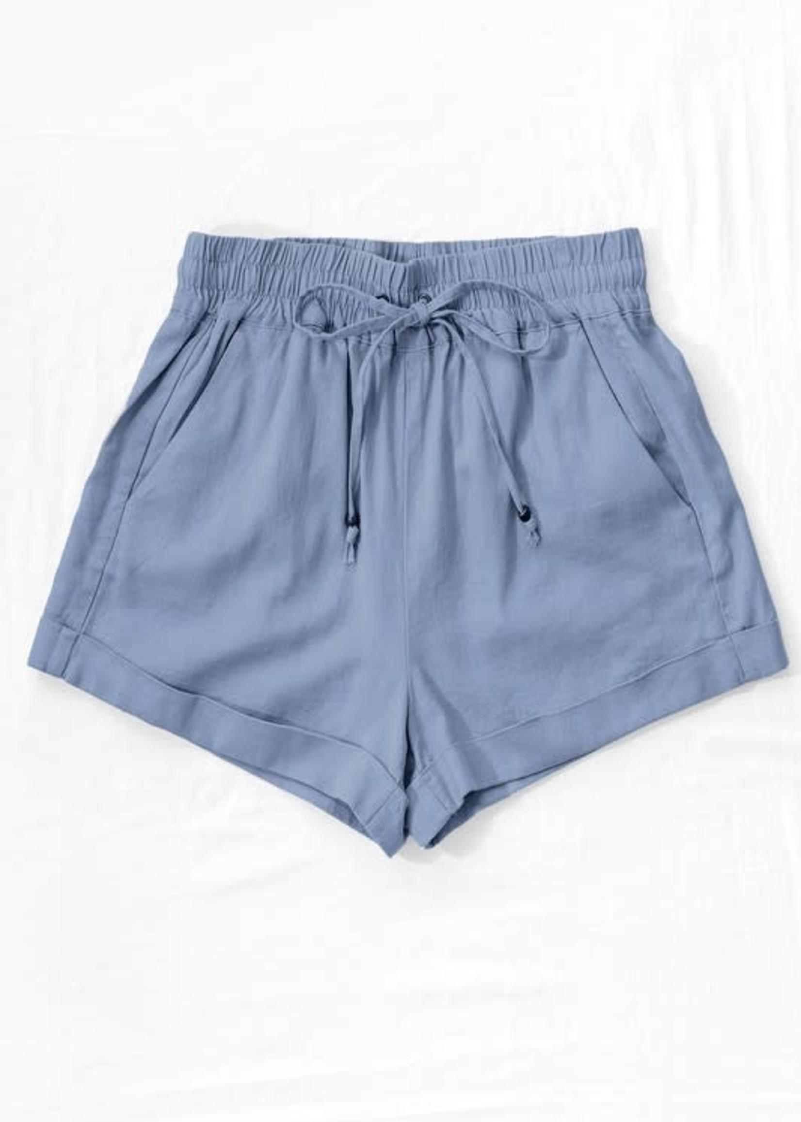 Love Tree Linen Waistband Shorts - Blue Stone
