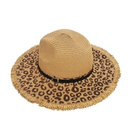 Judson Leopard Fringe Panama Hat Featuring Belted Accent