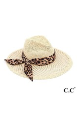 CC Brand Honeycomb Paper Straw Shape Panama Hat with Leopard Print Ribbon