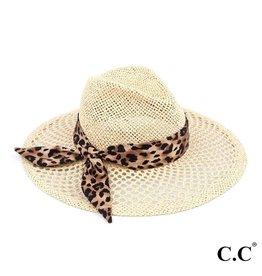 CC Brand Honeycomb Paper Straw Shape Panama Hat with Leopard Print Ribbon