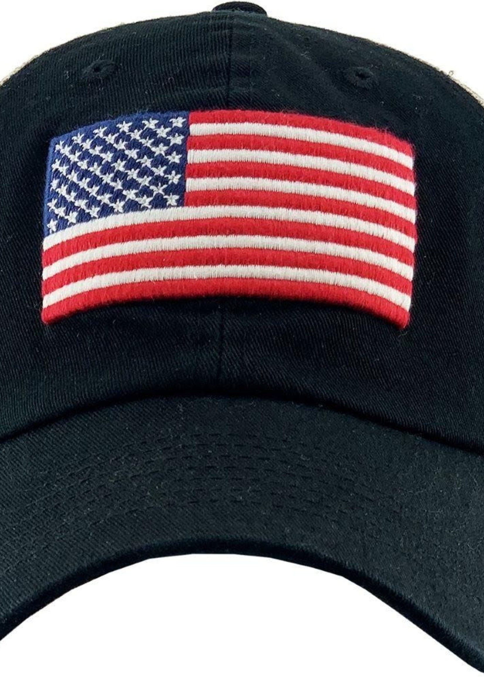 Judson Vintage Distressed USA Flag Mesh Baseball Cap