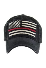 Judson Faded American Flag Vintage Distressed Baseball Cap