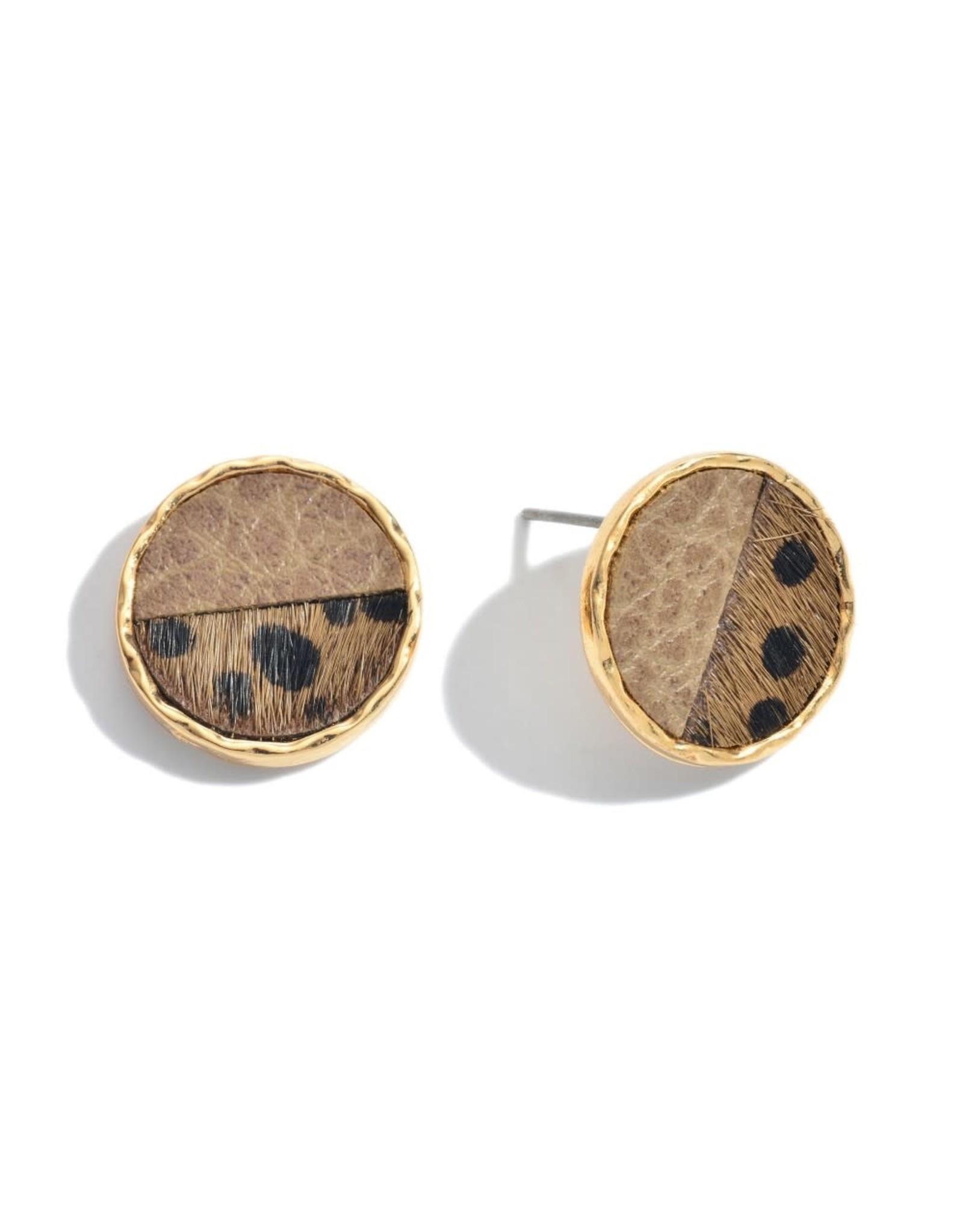 Genuine Leather Animal Print Button Stud Earrings