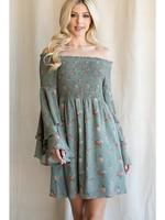 Jodi FL Smocked Off Shoulder Babydoll Dress
