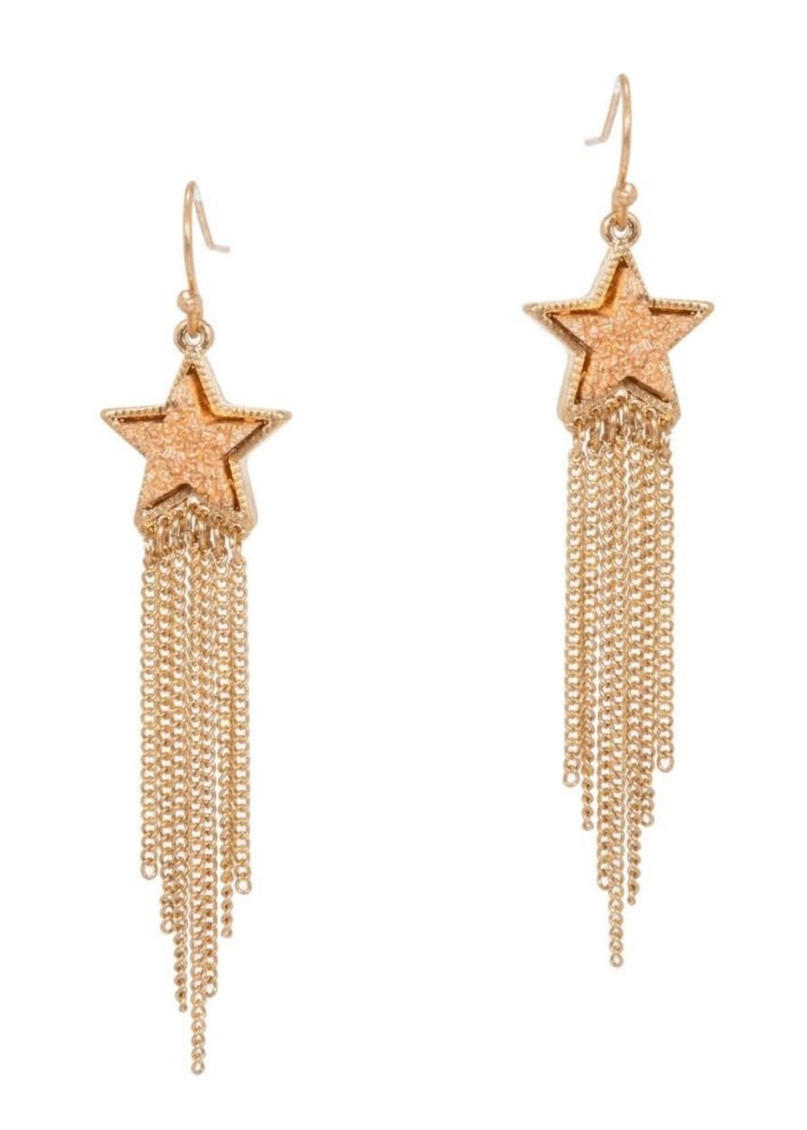 Druzy Star and Metal Chain Drop Earrings