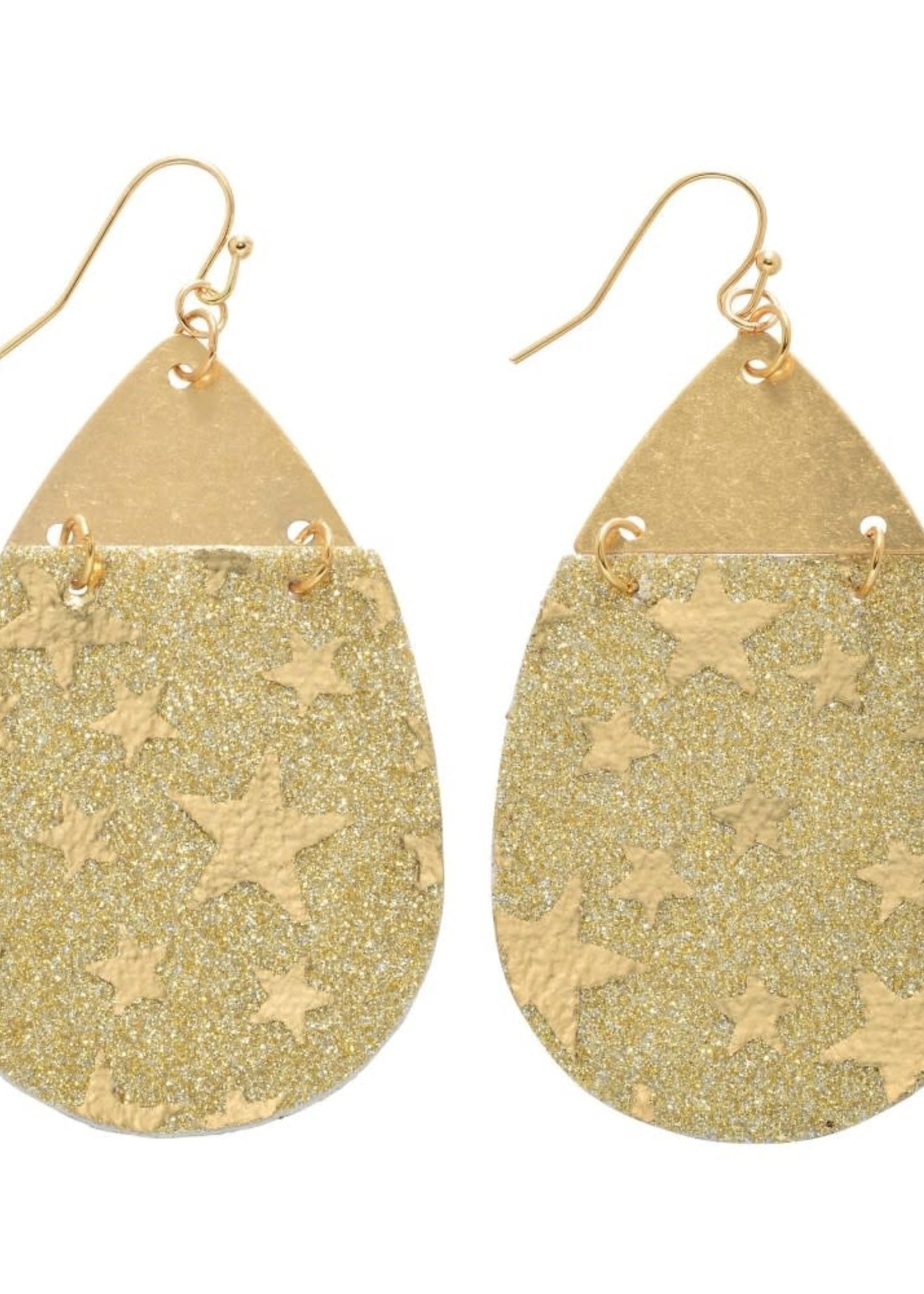 Judson Metal Linked Glitter Star Teardrop Earrings